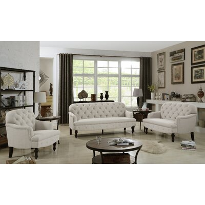 Digirolamo 3 Piece Living Room Set Upholstery: Warm Beige