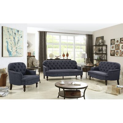 Digirolamo 3 Piece Living Room Set Upholstery: Charcoal