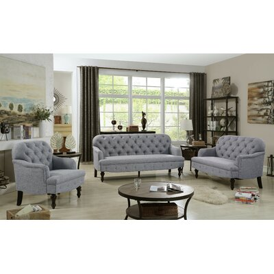 Digirolamo 3 Piece Living Room Set Upholstery: Smoky Gray