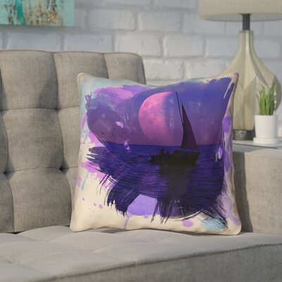Houck Watercolor Moon and Sailboat Square Outdoor Throw Pillow Size: 18 H x 18 W