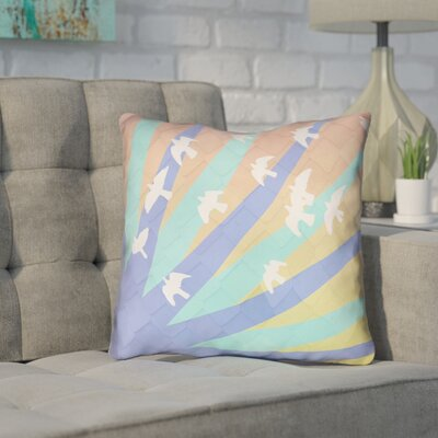 Enciso Birds and Sun Outdoor Throw Pillow Color: Blue/Orange, Size: 16 x 16
