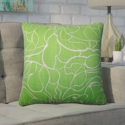 Wilsey Floral Cotton Throw Pillow Color: Green