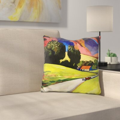 Retro Landscape Throw Pillow