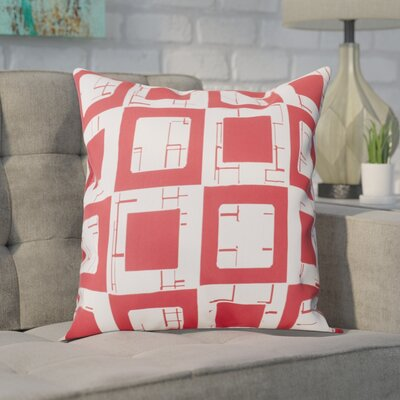 Geometric Decorative Throw Pillow Size: 16 H x 16 W, Color: Red