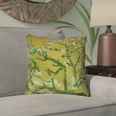 Lei Almond Blossom Outdoor Throw Pillow Color: Green, Size: 18 x 18