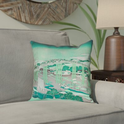Enya Japanese Bridge Waterproof Throw Pillow Color: Green, Size: 16 x 16