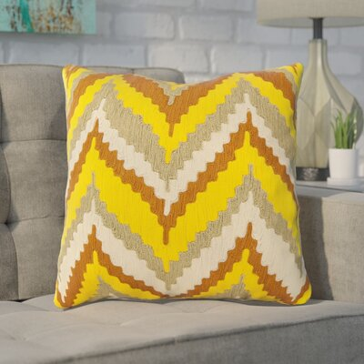 Stallworth Cotton Throw Pillow Size: 18 H x 18 W x 4 D, Color: Peanut Butter / Sunglow Orange / Moss / Yellow, Filler: Polyester