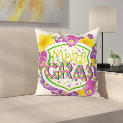 Mardi Gras Blazon with Flowers Square Cushion Pillow Cover Size: 18 x 18