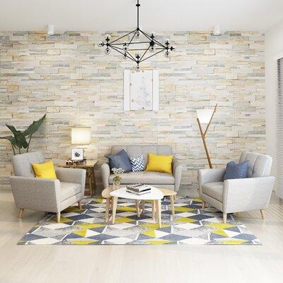 Cavitt Mid Century 2 Piece Living Room Set Upholstery: Beige