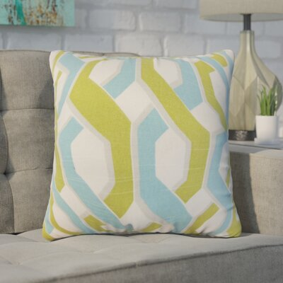 Nuttall Geometric Cotton Throw Pillow Color: Aqua/Green