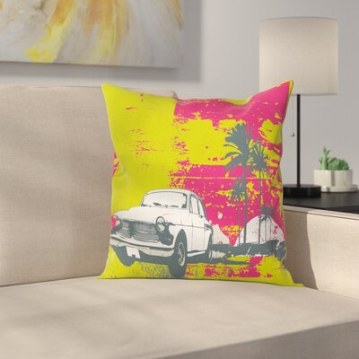 Grunge Vintage Cars with Palms Cushion Pillow Cover Size: 18 x 18