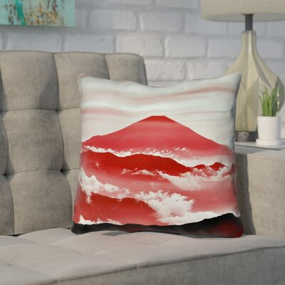 Enciso Fuji Square Outdoor Throw pillow Size: 18 H x 18 W, Color: Red