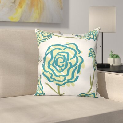 Cherry Spring Floral 1 Print Throw Pillow Size: 20 H x 20 W, Color: Green