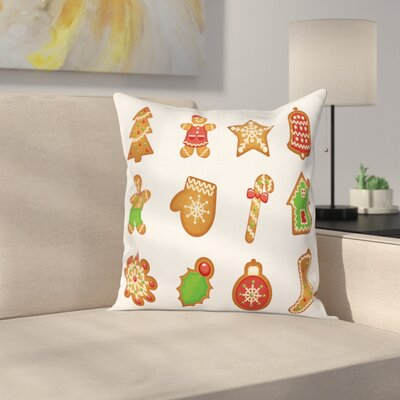 Gingerbread Man Various Cookies Square Pillow Cover Size: 20 x 20