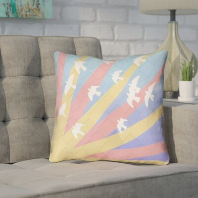 Enciso Contemporary Birds and Sun Throw Pillow Color: Yellow/Orange, Size: 20 H x 20 W