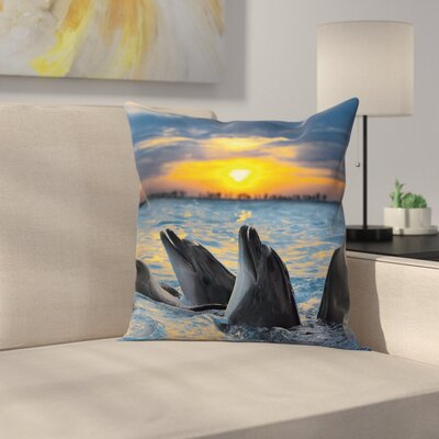 Animal Graphic Print Pillow Cover with Zipper Size: 18 x 18