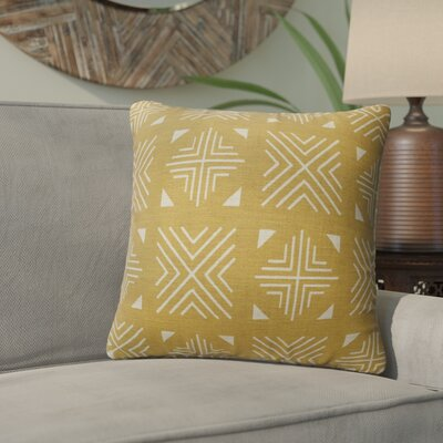 Bemelle Mud Cloth Throw Pillow Size: 16 H x 16 W, Color: Gold/ Ivory