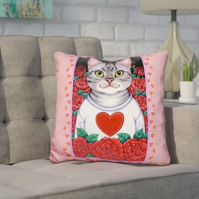 Core Cat Roses Throw Pillow