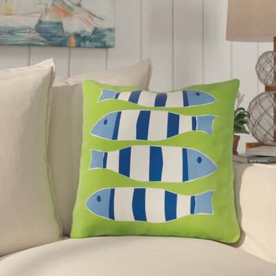 Pissouri Outdoor Cotton Throw Pillow Color: Four Green Fish