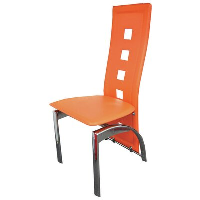 Savell Upholstered Dining Chair Upholstery Color: Orange