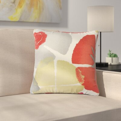 Pohl Floral Cotton Throw Pillow Color: Coral
