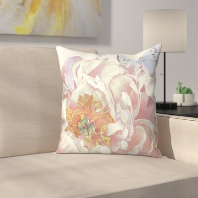 Large Peach Peony Blue Butterfly Throw Pillow Size: 20 x 20