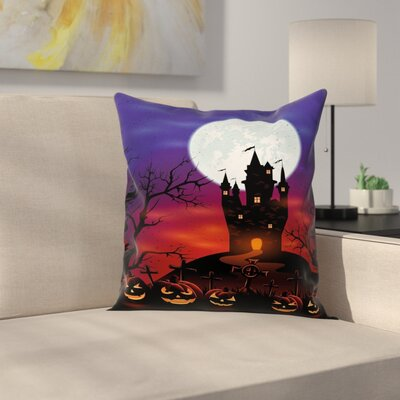 Halloween Decor Haunted Castle Square Pillow Cover Size: 18 x 18