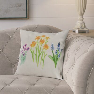 Kaylor Flower Trio Indoor/Outdoor Throw Pillow Color: Yellow, Size: 18 x 18
