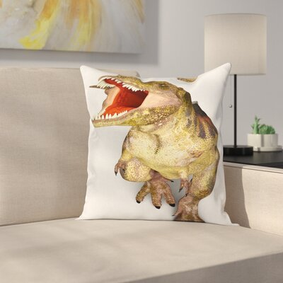 Dinosaur Roaring Vivid T-Rex Square Cushion Pillow Cover Size: 18 x 18