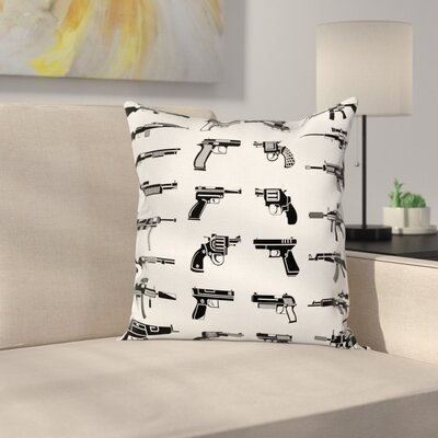 Fabric Case Guns Riffles War Combat Square Pillow Cover Size: 24 x 24