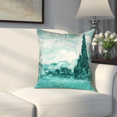 Woodlawn Wheatfield with Cypresses Square Linen Pillow Cover Size: 20 H x 20 W, Color: Teal