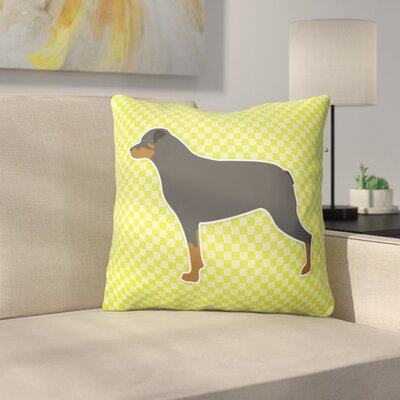 Rottweiler Square Indoor/Outdoor Throw Pillow Size: 18 H x 18 W x 3 D, Color: Green