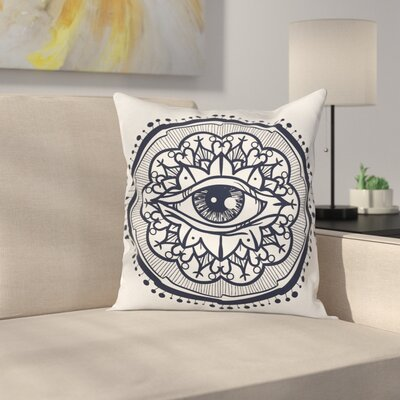 Retro All Seeing Eye Art Square Pillow Cover Size: 18 x 18