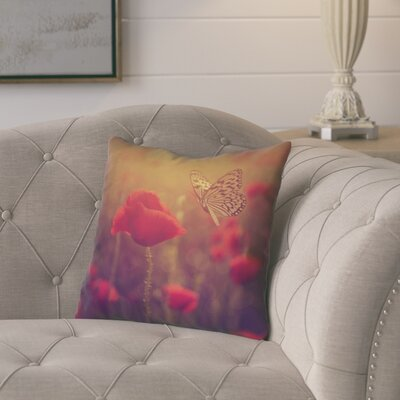 Mariani Country Butterfly and Rose Throw Pillow Color: Red, Size: 20 H x 20 W