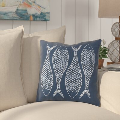 Cannaday Fabulous Fish Outdoor Throw Pillow Size: 18 H x 18 W x 4 D, Color: Navy
