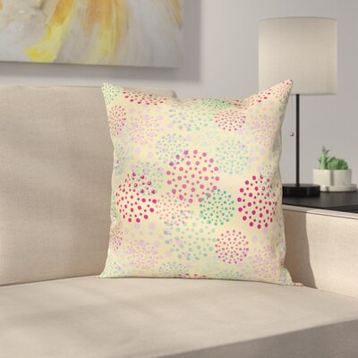 Flowers Polka Dots Cushion Pillow Cover Size: 24 x 24