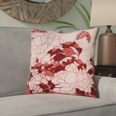 Clair Peonies and Butterfly Square Cotton Throw Pillow Size: 18 H x 18 W, Color: Red