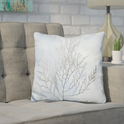 Jaworski Silver Foil Algae Throw Pillow Color: White