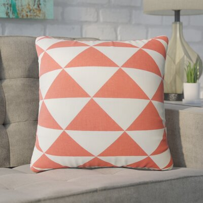 Wiedman Geometric Down Filled 100% Cotton Throw Pillow Size: 18 x 18, Color: Coral