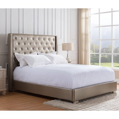 Demartino Upholstered Panel Bed Finish: Gold, Size: King
