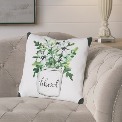 Branner Blessed Mason Jar Throw Pillow Size: 16