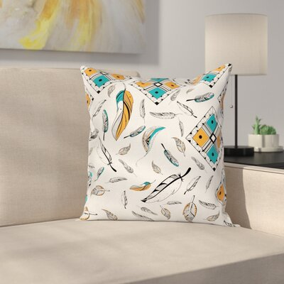 Fabric Case Tribal Bohemian Feather Square Pillow Cover Size: 18 x 18