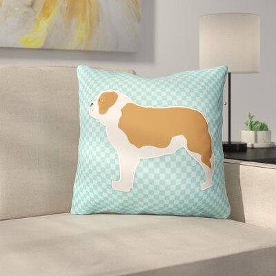 Saint Bernard Indoor/Outdoor Throw Pillow Size: 18 H x 18 W x 3 D, Color: Blue