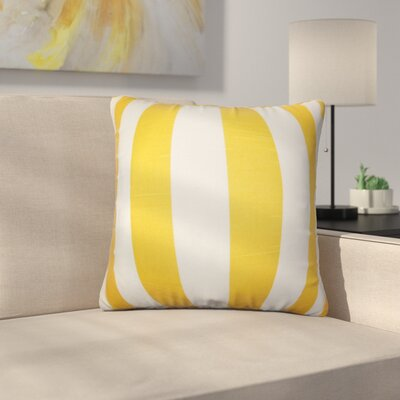 Strauser Stripes Cotton Throw Pillow Color: Yellow