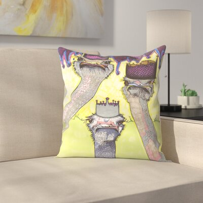 Ostriches Throw Pillow Size: 16 x 16