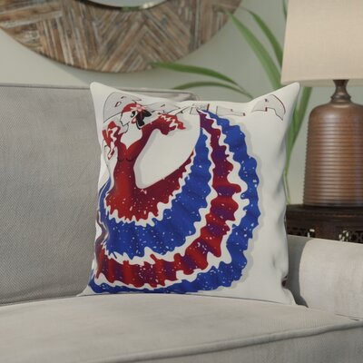 Hirschman Dancer Baila Word Print Indoor/Outdoor Throw Pillow Color: Royal Blue, Size: 18 x 18