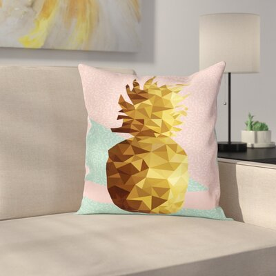 Poly Pineapple Summer Square Cushion Pillow Cover Size: 16 x 16