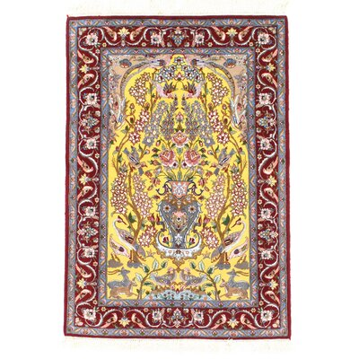 Genuine Persian Isfahan Hand-Knotted Ivory/Red Area Rug