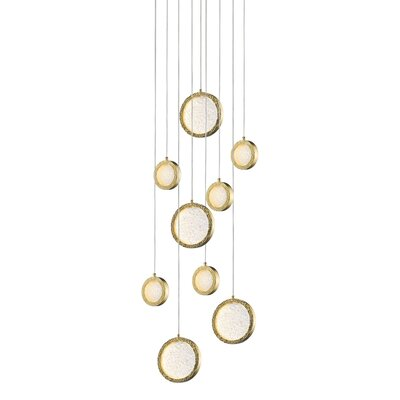Holmberg 9-Light LED Cluster Pendant Finish: Polished Brass