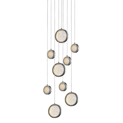 Holmberg 9-Light LED Cluster Pendant Finish: Polished Nickel